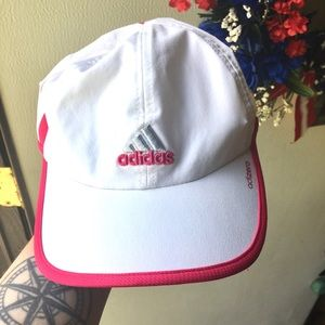 Women's white with pink Adidas hat